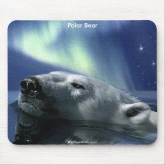 Swimming Arctic Polar Bear & Aurora Mouse Pads