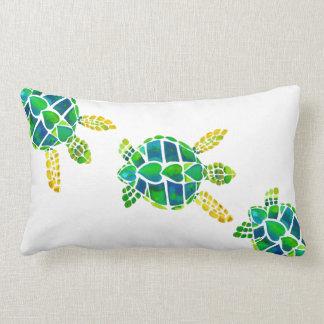 Swimming Baby Sea Turtles Lumbar Pillow