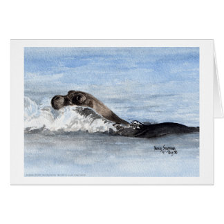 Swimming Baby Seal, Watercolor Greeting Card