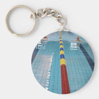 swimming basic round button keychain