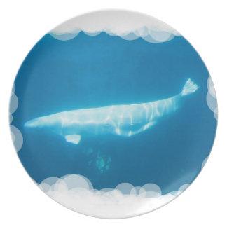 Swimming Beluga Whales Plate