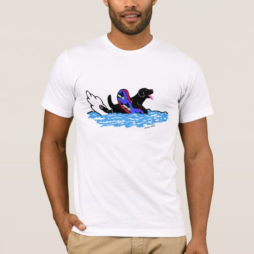 Swimming Black Labrador Cartoon T-Shirt