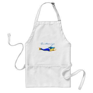 swimming blue mermaid adult apron