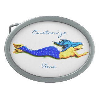 swimming blue-tail mermaid Thunder_Cove Oval Belt Buckle