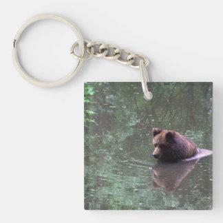 Swimming brown bear keychain