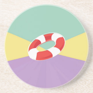 Swimming Buoys On Tri Color Background Drink Coaster