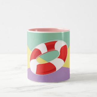 Swimming Buoys On Tri Color Background Mug