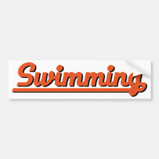swimming car bumper sticker