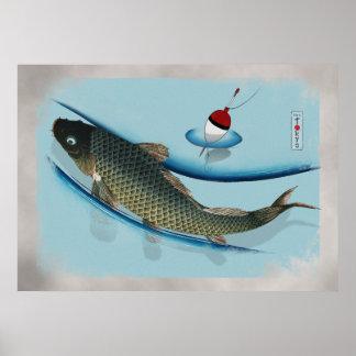 Swimming Carp Poster
