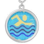 Swimming Champion Round Pendant Necklace