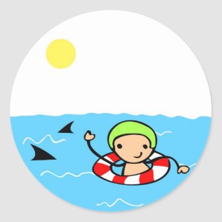 swimming classic round sticker