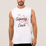 Swimming Coach Artistic Job Design with Hearts Sleeveless Shirt