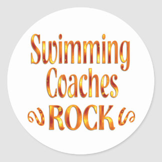 Swimming Coaches Rock Classic Round Sticker