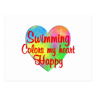 Swimming Colors My Heart Happy Postcard
