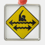 Swimming Danger Sign Square Metal Christmas Ornament