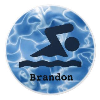 Swimming Design Ceramic Pull or Knob