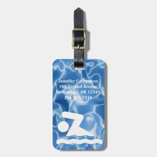 Swimming Design Luggage Tags