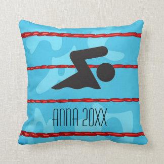 Swimming Design Throw Pillow
