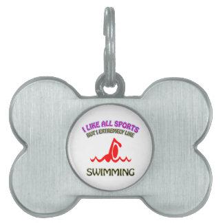 Swimming designs pet name tag