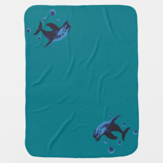 swimming dolphin baby blanket