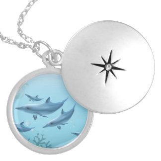 Swimming Dolphin Family Necklace