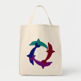 Swimming Dolphins Canvas Bags