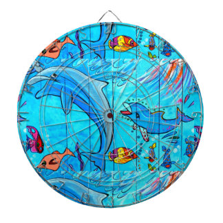 swimming dolphins dartboard