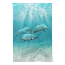 Swimming Dolphins Kitchen Towel