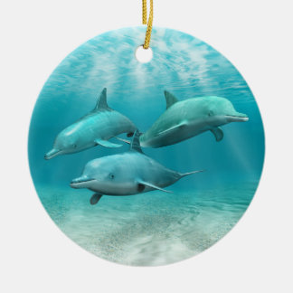 Swimming Dolphins Christmas Tree Ornaments