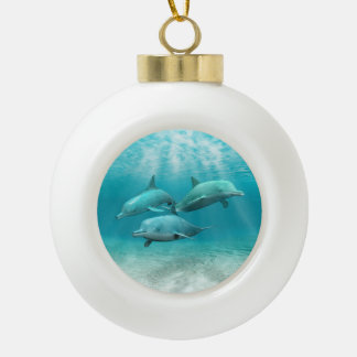 Swimming Dolphins Ceramic Ball Christmas Ornament