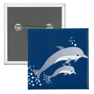Swimming Dolphins Pinback Button