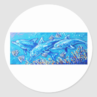 SWIMMING DOLPHINS CLASSIC ROUND STICKER