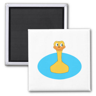 Swimming Duck. 2 Inch Square Magnet