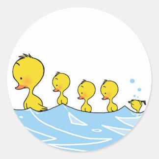 Swimming duck family classic round sticker