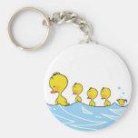 Swimming duck family key chain