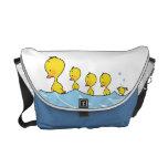 Swimming duck family messenger bag