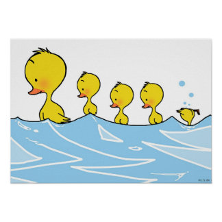 Swimming duck family poster