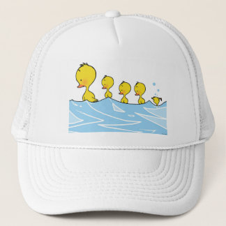 Swimming duck family trucker hat
