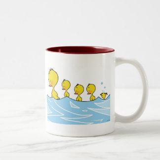 Swimming Duck Family Two-Tone Coffee Mug