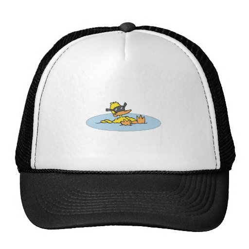 swimming duck with sunglasses hat