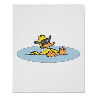 swimming duck with sunglasses poster