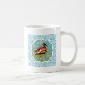 Swimming Duck with Teal Swirl Border Coffee Mug