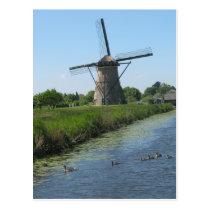Swimming Ducks in Canal & Windmill Photo Postcard