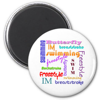 Swimming Everywhere 2 Inch Round Magnet