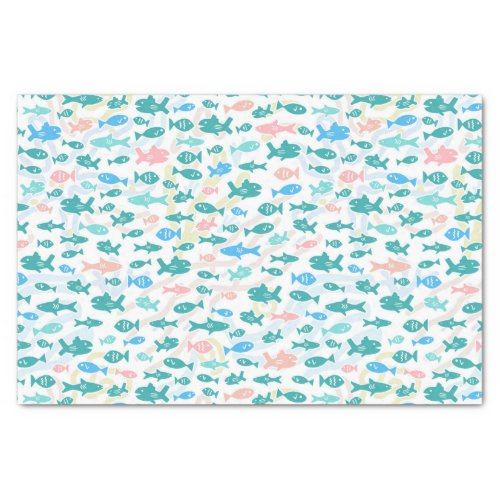 Swimming Fish Cute Nautical Coral Pattern Tissue Paper