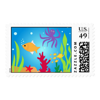 Swimming fishes postage