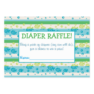 Swimming Fishies Diaper Raffle Tickets Large Business Cards (Pack Of 100)