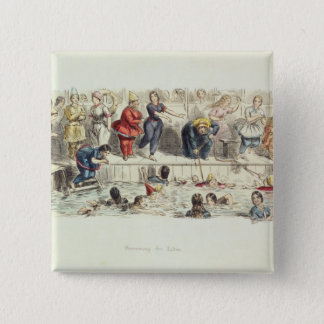 Swimming for Ladies, 1844 (litho) Button