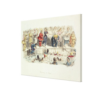 Swimming for Ladies, 1844 (litho) Canvas Print