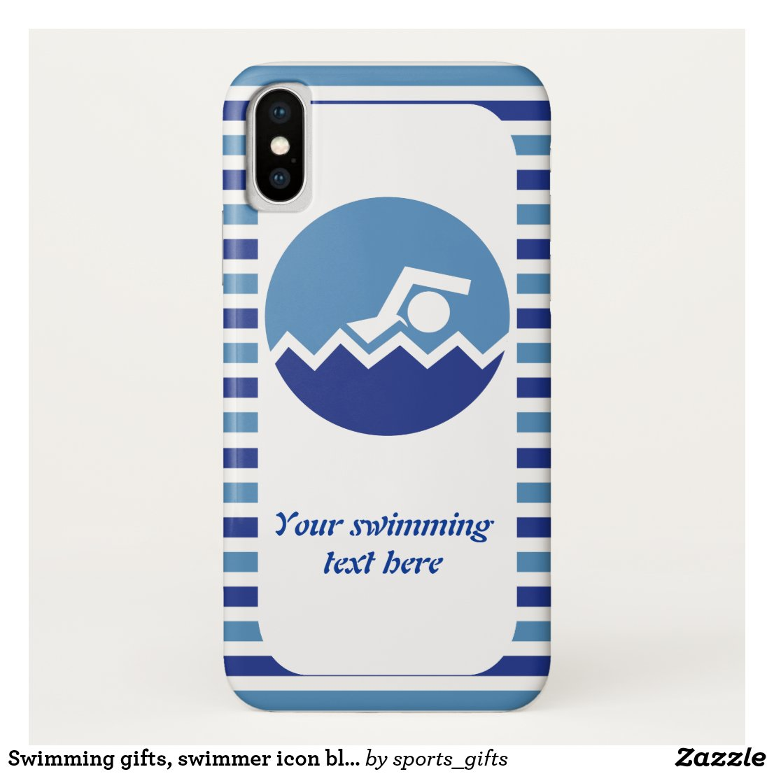 Swimming gifts, swimmer icon blue stripes